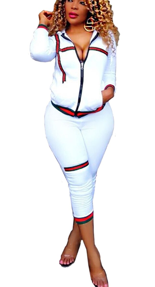 Bestdress Women's 2 Piece Set Bodycon Zipper Jacket Suit Carpri Pants Tracksuits Medium White