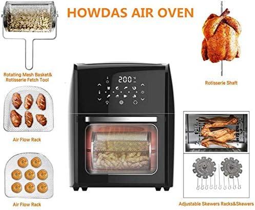 Friteuse à air, four à rôtissoire électrique 2000 W, four à friteuse à air 14 L, avec écran tactile numérique à LED, four grille-pain avec éclairage intérieur et cuisson au four