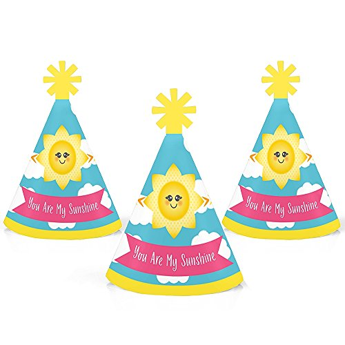 Big Dot of Happiness You are My Sunshine - Mini Cone Baby Shower or Birthday Party Hats - Small Little Party Hats - Set of 8