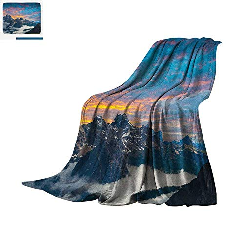 Mountain Warm Microfiber All Season Blanket Alpine Scenery Foggy Italian Natural Park Vivid Sky Above Clouds Photography Summer Quilt Comforter 90