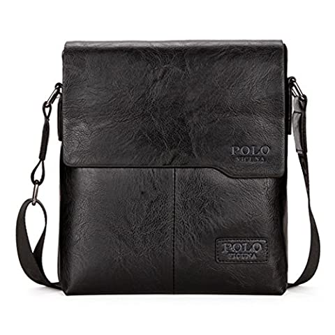 VICUNA POLO Shoulder Bag Business Man Bag Messenger Bag for Men Crossbody Bag (black)