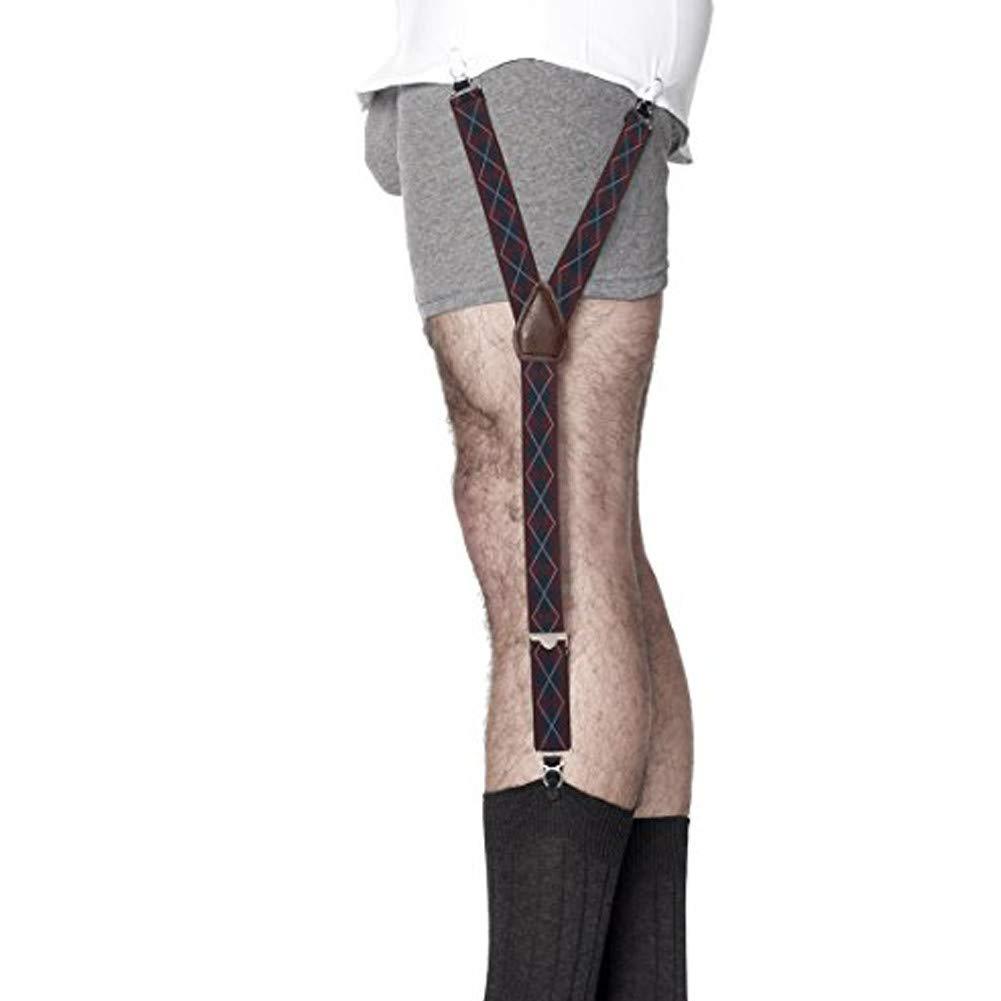 KK & JAY SUPPLY CO. - The ORIGINAL Premium Stay Tucked Shirttail Garters - Made in Brooklyn USA - ''Ashford'' Argyle Shirt Stays (Navy/Red)