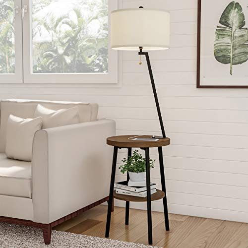 Lavish Home 72-LMPWT-2 Floor Lamp End Mid Century Modern Side Table with Drum Shaped Shade, LED Light Bulb Included, USB Charging Port and Storage Shelf, Multi-Color