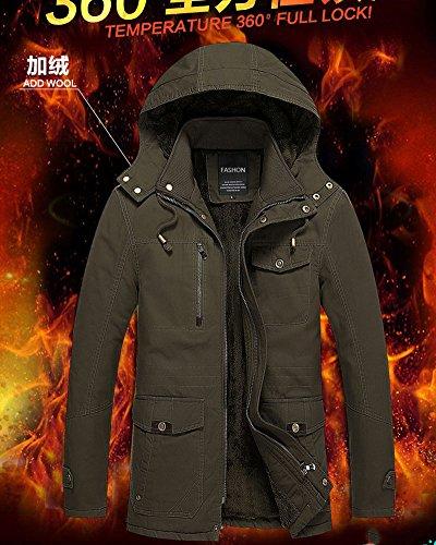 Lined Fleece Jacket Zipper Boy Coat Hoodies Men Hooded Autumn Green Fit Padded Winter Slim Tomwell FPwIXOqO