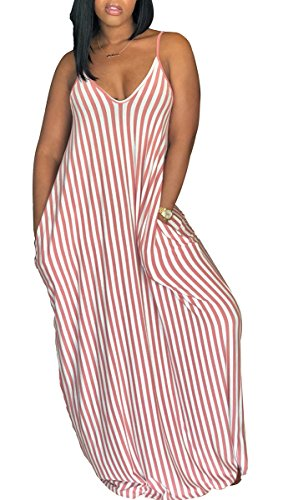 Women's Casual Stripe Long Maxi Dresses with Pockets Spaghetti Strap Sleeveless Loose Beach Sundress -
