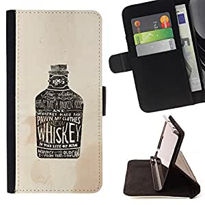 BullDog Case - FOR/HTC One M8 / - / WHISKEY BROWN DRUNK DRINKING PARTY /- Monedero de cuero de la PU Llevar cubierta de la caja con el ID Credit Card Slots Flip funda de cuer