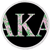 Pixels Round Beach Towel With Tassels featuring ''Alpha Kappa Alpha - Black'' by Stephen Younts