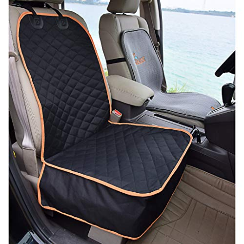 Amochien Pet Front Seat Cover for Cars, Waterproof & Scratch Proof & Nonslip Rubber Backing Quilted, Padded Machine Washable Front Car Seat Protector Front Seat Dog Covers Black for Cars Trucks & SUV