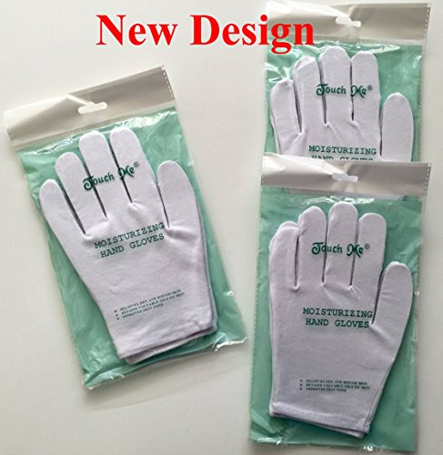 Soft Hands Gloves (3 pairs/set Touch Me (TM) Moisturizing Hand Gloves, 94% Cotton / 6% Spandex (Set of 3 Pairs))