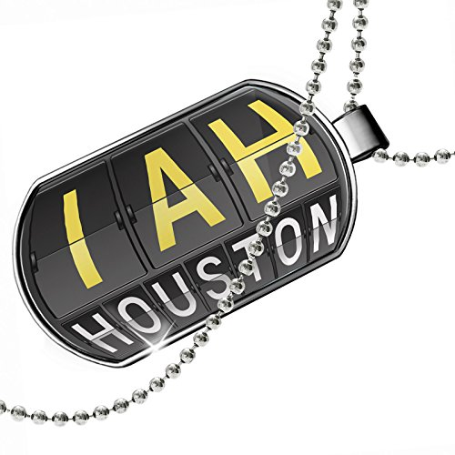 Dogtag IAH Airport Code for Houston Dog tags necklace - - Airport Iah Shops