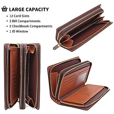 Teemzone Mens Genuine Leather large Clutch Bag Handbag Organizer Checkbook Wallet Card Case No Coin Pouch/No RFID Blocking