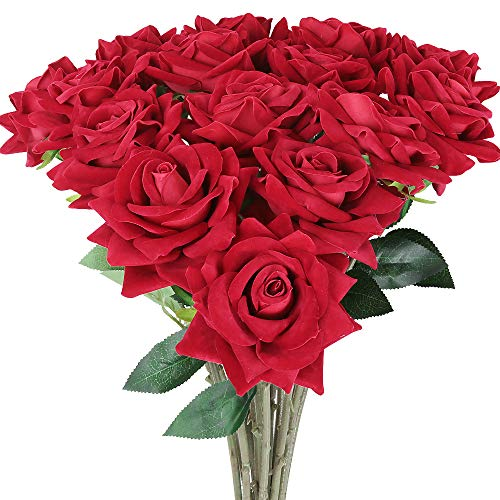 AmyHomie Artificial Flowers 15pcs Silk Flannel Roses Bouquet Home Wedding Decoration for Bridal Wedding Bouquet,Birthday Bunch Hotel Party Garden Floral Decor (red)