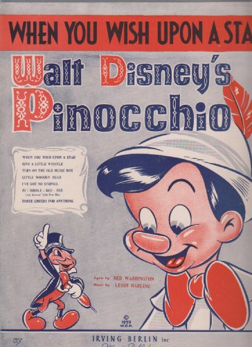 Walt Disney Pinocchio When You Wish Upon a Star ; Vintage Vocal, Piano, Chords Sheet ()