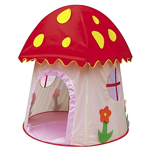 ChezMax Kids Pop-up Mushroom-Shaped Play Tent/Princess and Prince Castle/Children Play House for Indoor and Outdoor Fun Plays, Red and Pink ()