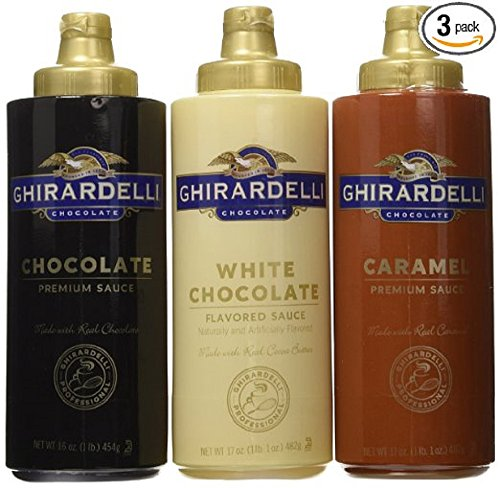 Dark Drizzle Chocolate - Ghirardelli Squeeze Bottles - Caramel, Chocolate & White Chocolate - Set of 3