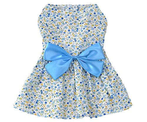 New Spring Summer Pet Dog Skirt Lady Dog Dress Floral Skirt Small Dog Princess Bow Dress Blue S