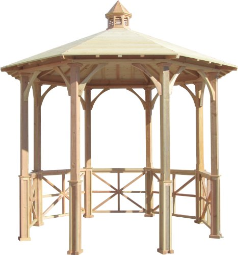 Pine Cupola (SamsGazebos 10' Octagon English Cottage Garden Gazebo with Cupola, Adjustable for an Uneven Patio, Made in)