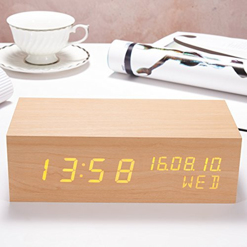 HOMEE Clock wooden led wireless bluetooth speaker snooze alarm by HOMEE