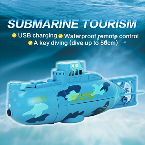 DZT1968 360° Radio Remote Controlled waterproof transmitter RC Submarine Toy Mini Underwater Submersible (blue)