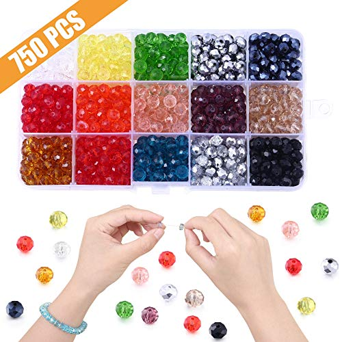 Beads Colourful Glass - 750pcs 8mm Glass Beads for Jewelry Making, Lucky Goddness Round Faceted Shape Colourful Crystal Briolette Spacer Beads Assortments Supplies for Making Handcrafts, DIY Bracelets Necklaces