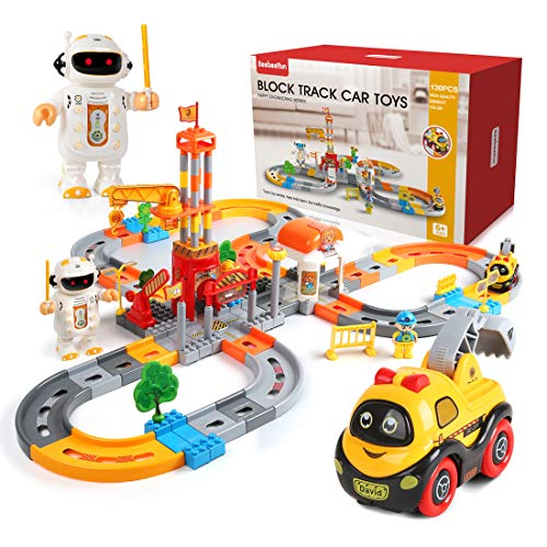 (Beebeerun Railway Set 130 Piece Car Track Toys Construction Track Set with Cartoon Car and Wireless Robots for Kids Toddlers Gift)