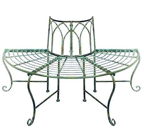 Iron Wrought Stand (1/2 Round Tree Bench/plant Stand - Wrought Iron - Antique Mint Green Finish)