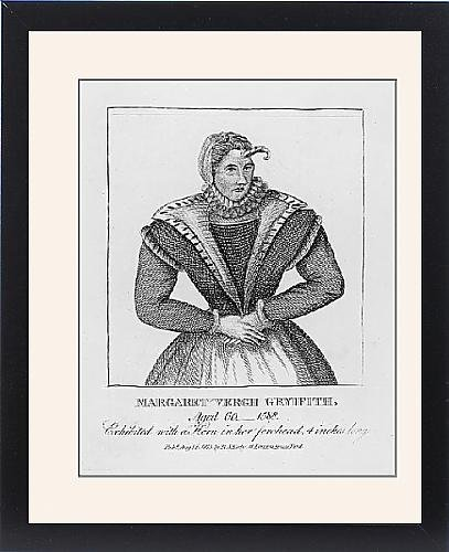 Framed Print of Margaret Vergh Gryffyth, horned woman by Prints Prints Prints