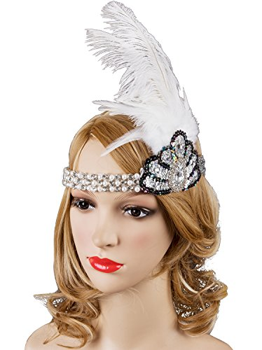 Vijiv Vintage 1920s Headpiece Pearl Beaded Band Flapper Headband With Feather (Homemade Gangster Woman Costume)
