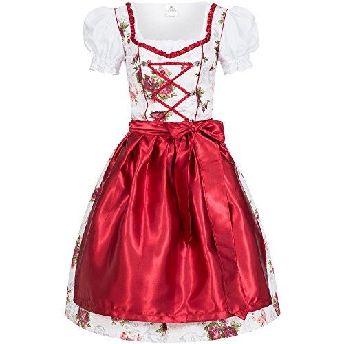 Dirndl Set 4tlg. Trachtenkleid Rosi weiß mit Rosendruck in rot + Push Up Büstenhebe BH 40 L