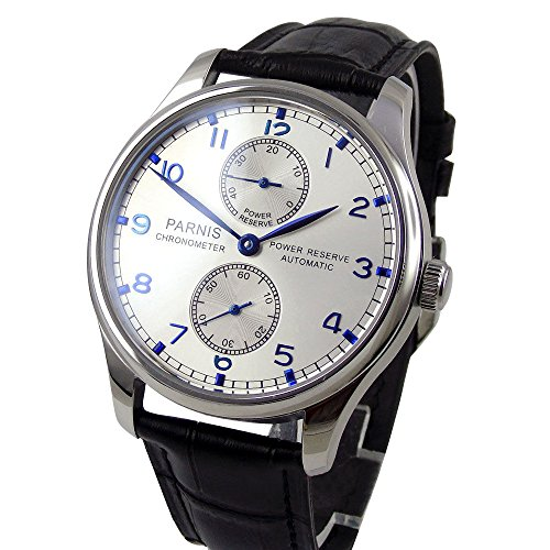 Whatswatch White Dial Seagull Movement Power Reserve Portugal Style Automatic Watch ()