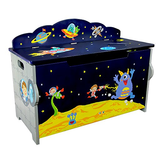 (Svitlife Fantasy Fields Outer Space Blue Finish Wood Toy Chest Toy Chest Wood Storage Box Kids Wooden Handmade Amish Organizer)