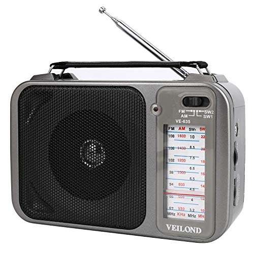 VEILOND AM FM Portable Radio Player, AC Power or Dry Battery Operated Vintage AM FM Shortwave Compact Transistor Radio with 3.5mm Earphone Jack(Grey) (Radio Fm Ac)