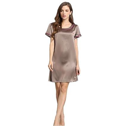 Mujer 100% Seda Pura Pijama Vestido de Dormir Bata de baño Suave Respirable Manga Corta