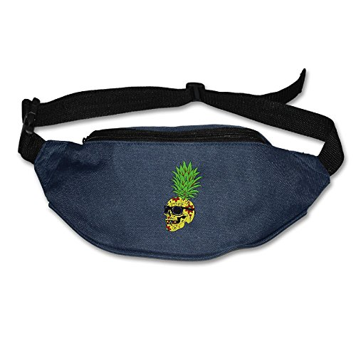 Unisex Pockets Skull Pineapple Fanny Pack Waist / Bum Bag Adjustable Belt Bags Running Cycling Fishing Sport Waist Bags Black]()
