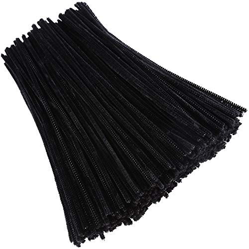 Caydo 400 Pieces Halloween Black Pipe Cleaners Chenille Stems for DIY Art Craft Decorations, 6mm x