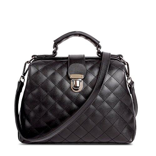 [HIFISH HB125165C1 PU Leather Korean Style Women's Handbag,Square Cross-Section Doctors Bag] (Korean Culture Costume)