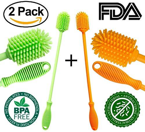Silicone Bottle Brush Cleaner FDA - Antibacterial Bottle Cleaning Brush Set Kitchenware for Washing Water Bottle / Baby Bottle / Wine Glasses / Thermos / Dishes / Jars / Vases ( 2Pack = Orange+Green )