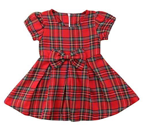 SWNONE Baby Girls Skirt Set Plaid Flannel Bowknot Tutu Skirts Christmas Clothes Set (Plaid Bowknot Tutu Skirts, 6-12 m)