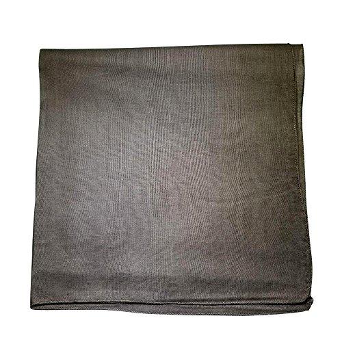 One Dozen Solid Plain Colors 100% Cotton Bandana - 12 Pack by M.H.I. ( 14 Colors) (Grey)