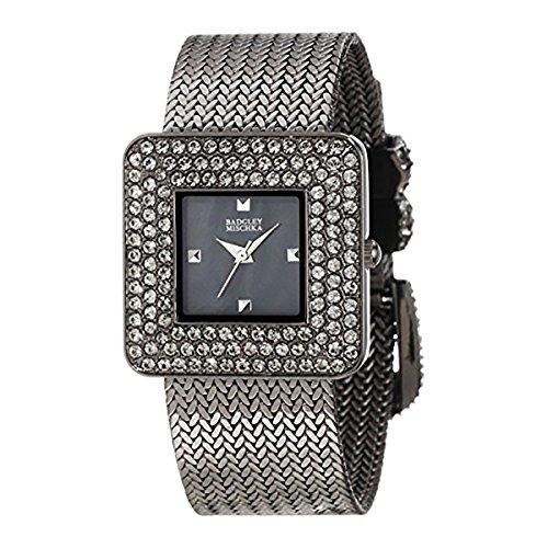 badgley-mischka-womens-ba-1197gmgy-swarovski-crystal-accented-gunmetal-tone-mesh-bracelet-watch