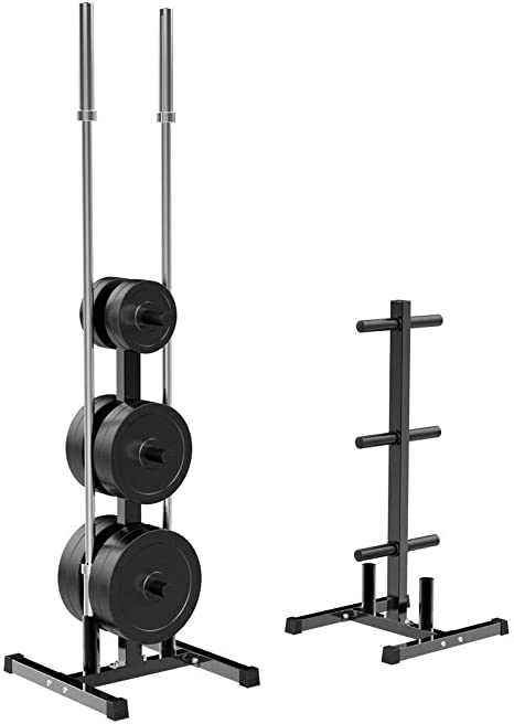 Heavy Duty Steel /& Space Saving for Home Gym Use Olympic 2-inch Weight Plate Rack for Barbells Bumper Plates 500Lbs Capacity Strength Training Weight Holder Tree
