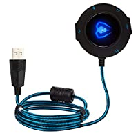 BlueFire USB 2.0 External Stereo Sound Card Adapter with 2 USB Hub Headphones Noise Reduction Headset Adapter for Computer Laptop Compatible with Windows, Mac OS, Linux, Vista(Blue)