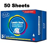 Tonelife 50 Count Travel Laundry Sheets Detergent - (3 in 1) Scented Nano Technology Super Condensed Laundry Detergent Sheets, Stain Remover- Fabric Softener and Static Guard,English Manual