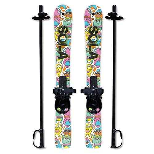 Sola Winnter Sports Kid's Beginner Snow Skis and Poles with Bindings Age 2-4 (Gaggle) (Best Xc Skis For Beginners)