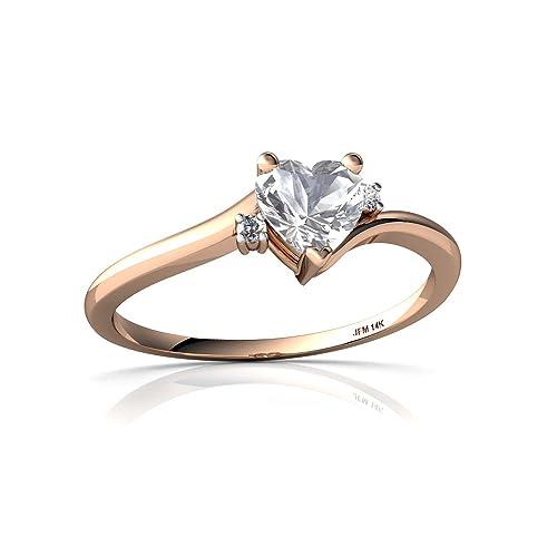 14kt Gold White Topaz and Diamond 5mm Heart Delicate Heart Ring
