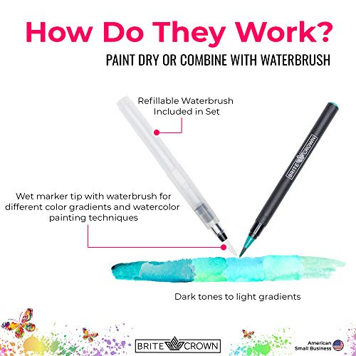 Brite Crown Watercolor Pen Set – 24 Unique Watercolor Brush Pen Markers – Kit Includes Watercolor Paper Pad (140lb…