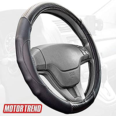 BDK Motor Trend GripDrive Carbon Fiber Series - Steering Wheel Cover - Synthetic Leather Comfort Grip Handles