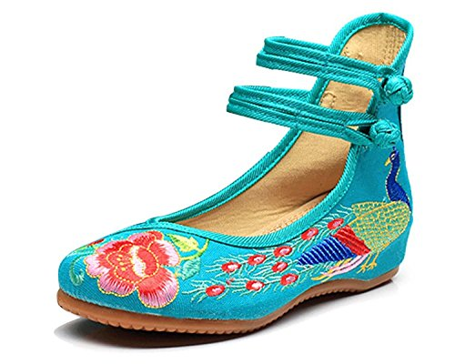 Mocassins Talon Vintage Broderie Pumps Femme Mary De Chaussures Ballerines Fleur Loafer Conduite Minetom Jane Vert Compensé wTHSqx