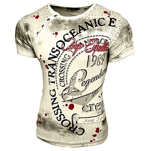 Rusty Neal Herren Rundhals T-Shirt Kurzarm Hemd Slim Fit Design Fashion 15045, Farbe:Grau;Größe:M