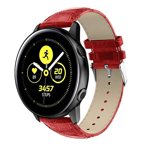 Goldseller Compatible with Samsung Galaxy Watch Active,Luxury Leather Crocodile Bracelets Replacement Wristband Band Watch Strap,5 Colors (Red)